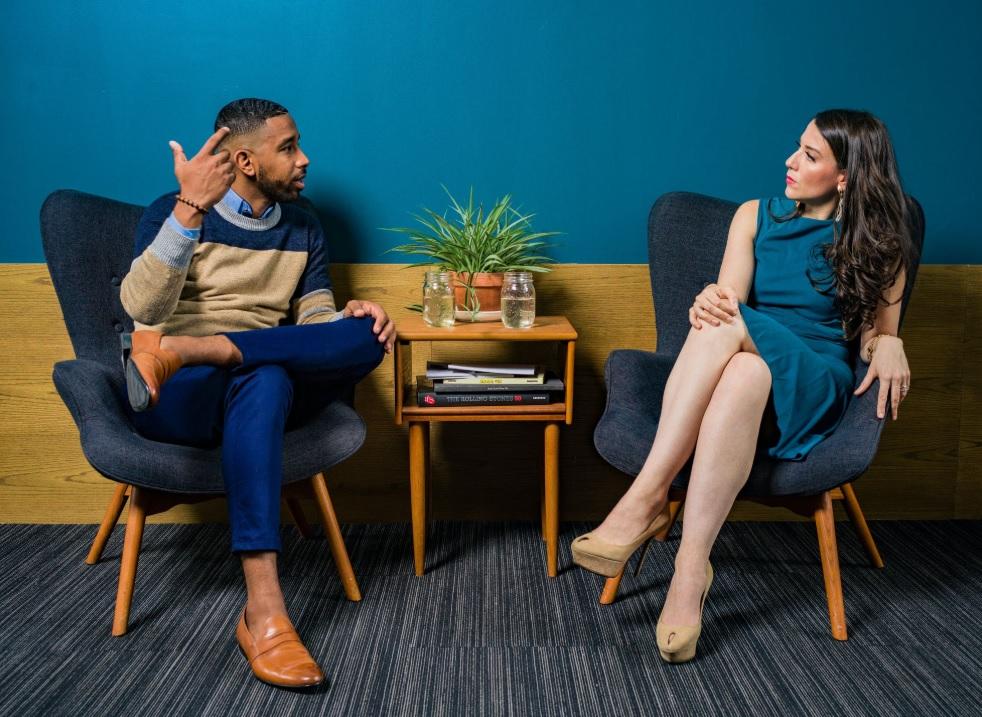 Couple talking about retirement.